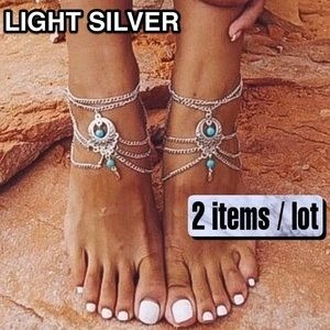 ⚜️[𝗡𝗪𝗧]⚜️5 Layered Turquoise Silver Anklet New